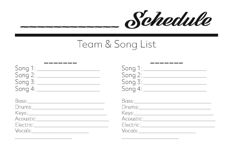 Schedule Template - Worship